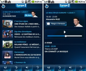 L'appli Europe 1 sur Iphone